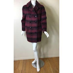 Coach plaid long alpaca wool blend coat